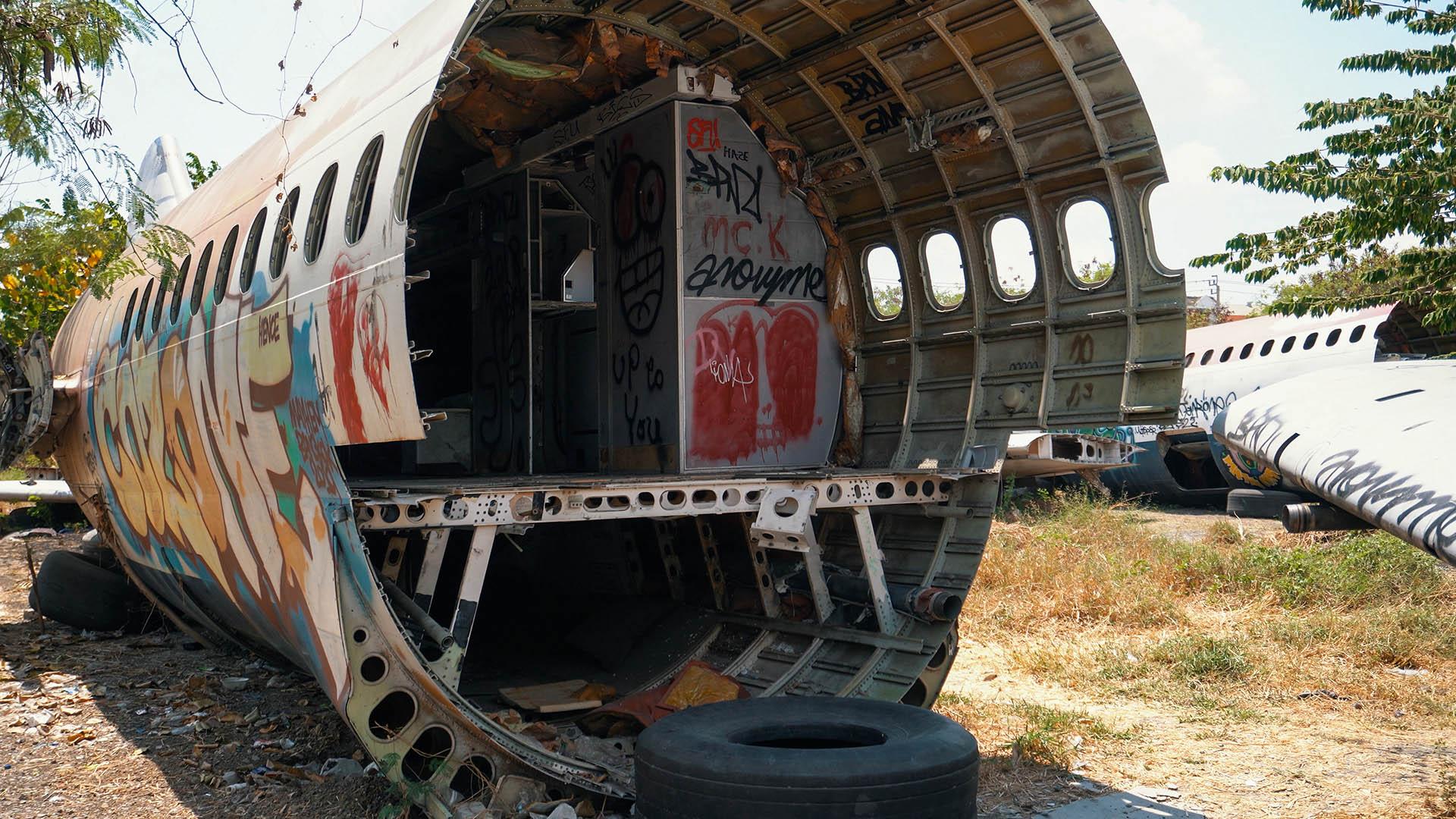 Wrack am Flugzeugfriedhof Bangkok