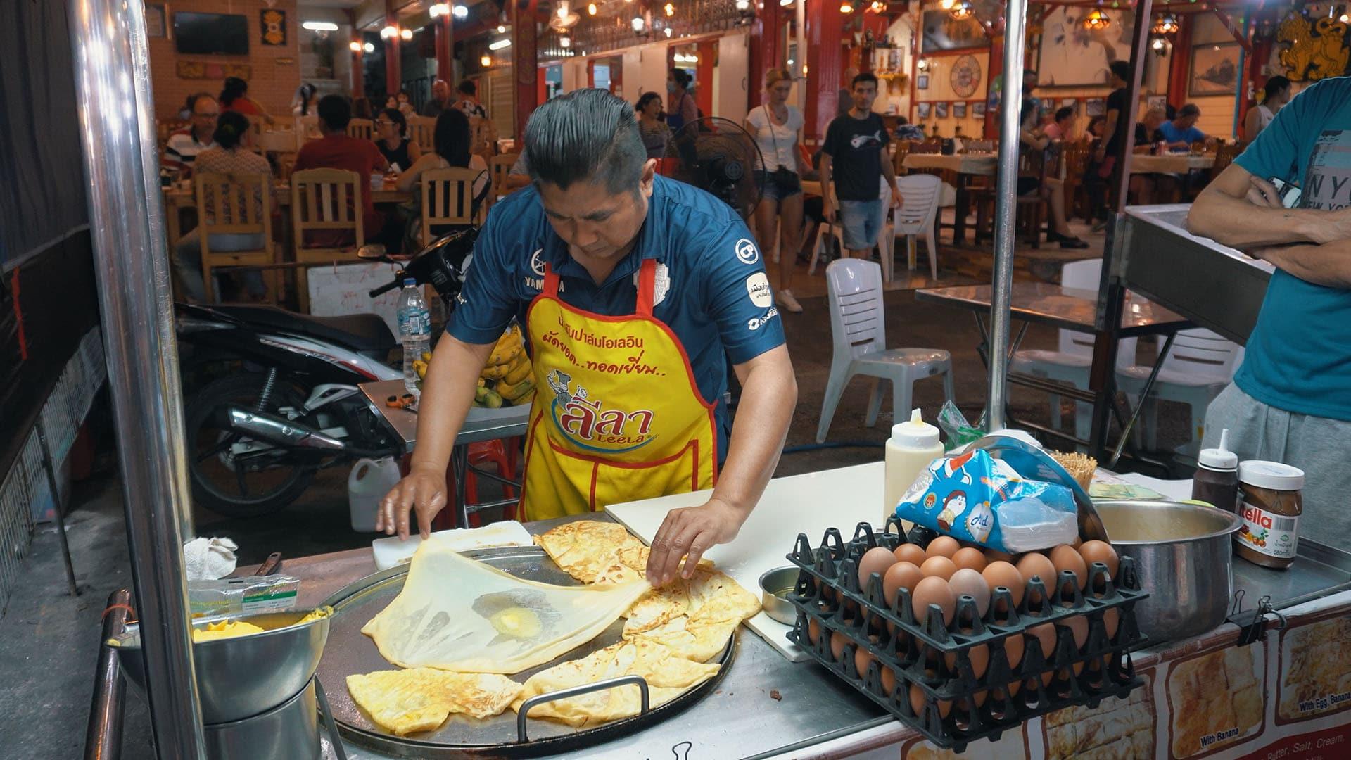 Roti Verkäufer am Hua Hin Nachtmarkt
